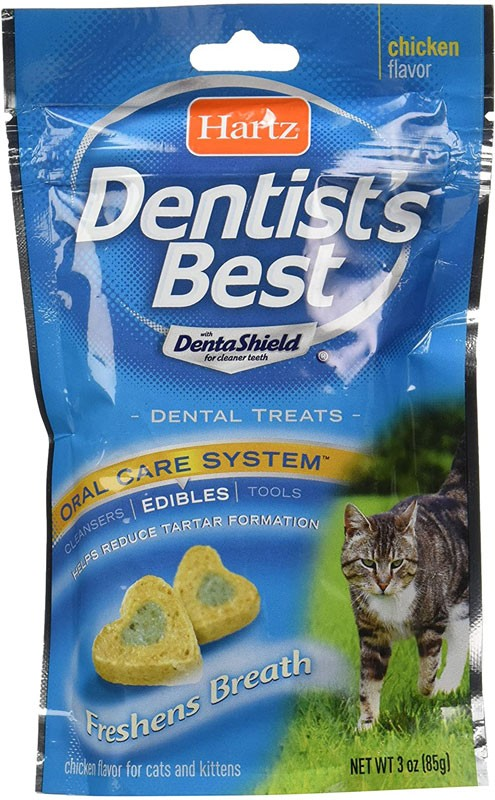 how to keep a cats teeth clean without brushing Hartz-Dentist'S-Best-Chicken-Flavored-Dental-Cat-Treats